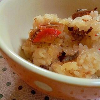 炊き込みご飯の素にプラス具材で✿おかずご飯❤