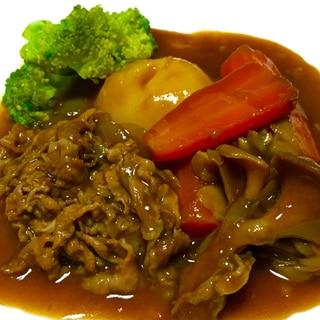 圧力鍋で簡単!舞茸と薄切り肉のビーフシチュー♡
