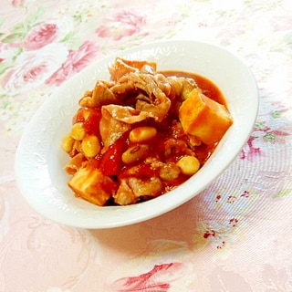 玉葱が決め手❤厚揚げと豚肉とトマト煮込み❤