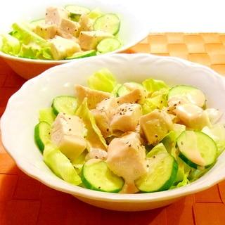 角切り蒸し鶏のサラダ(オーロラドレッシング)