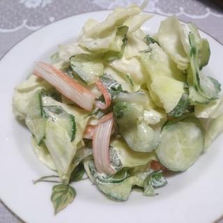 きゅうりとカニカマとキャベツと大葉のサラダ