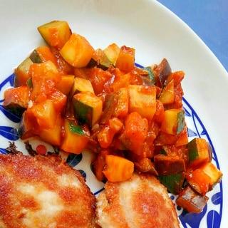 ナスとズッキーニのトマトジュース煮