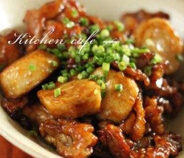 里芋と豚肉の照り焼き