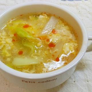 酸辣湯風キャベツと大根のスープ