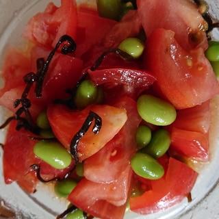 夏にオススメ☆トマトと枝豆の塩こんぶ和え