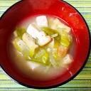 絹さやと太葱と油揚げのお味噌汁