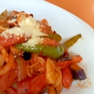 野菜たっぷり☆具だくさんなスパゲッティナポリタン