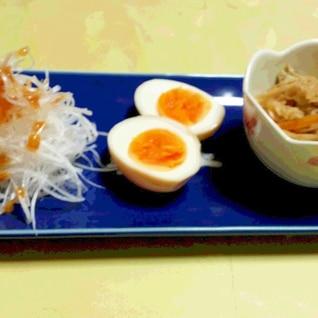 我が家のおつまみセット(味つけ玉子の作り方)