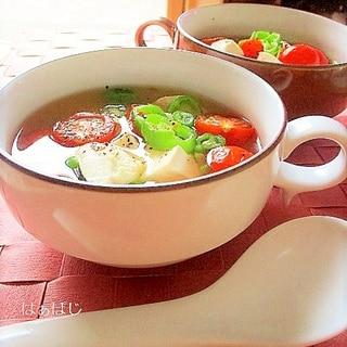 ミニトマトとししとうのスープ