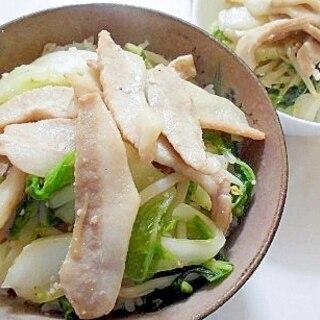 豚トロと白菜ともやしの丼