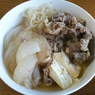新玉ねぎで肉豆腐(牛肉と糸こんにゃく)