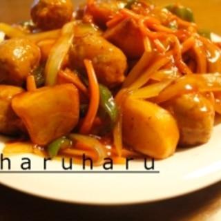 肉団子とジャガイモの甘酢炒め