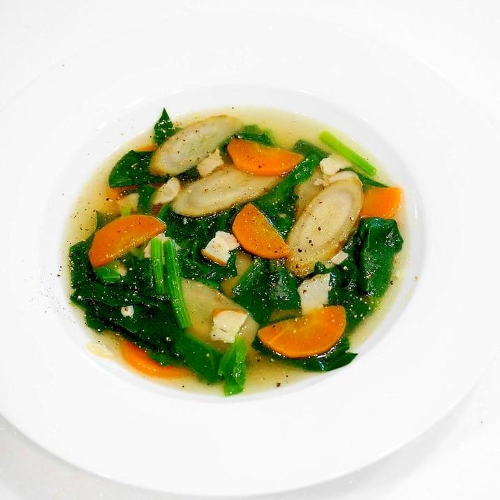 食物繊維満載!ゴボウと人参のコンソメスープ