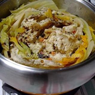 豚肉と白菜のバウムクーヘン蒸し鍋