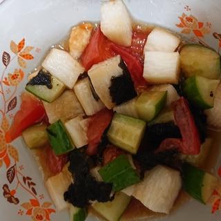 きゅうりと長芋とトマトのさっぱりサラダ