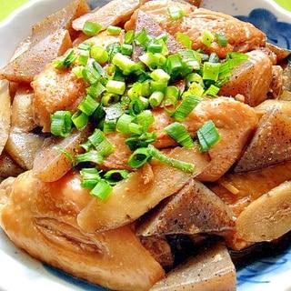 鶏手羽先とごぼう蒟蒻の煮物
