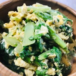 簡単!山東菜と卵のオイマヨ炒め♫