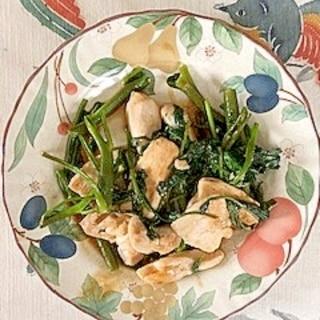 鶏むね肉、空芯菜の炒め物