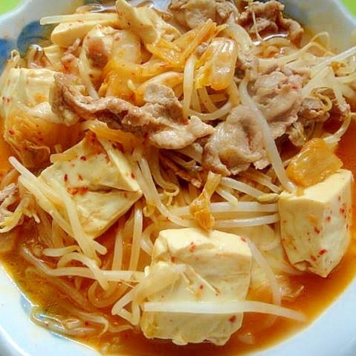豆腐と豚肉もやしのキムチ煮