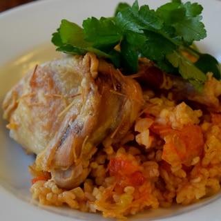 トルコ料理★鶏肉入り焼きブルグルピラフ