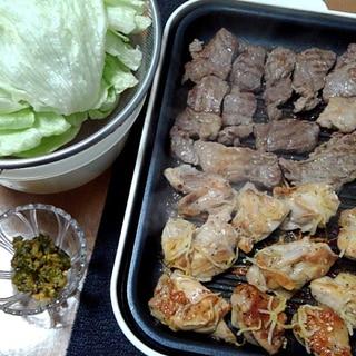 ホットプレート焼肉とレタスと青唐からし味噌まきまき
