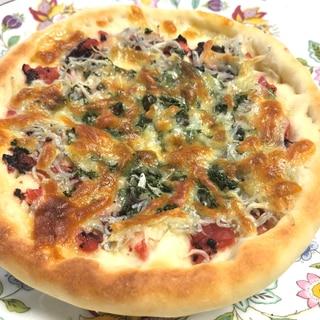 和風ピザ❤️梅に青じそ&しらすの和風ピザ