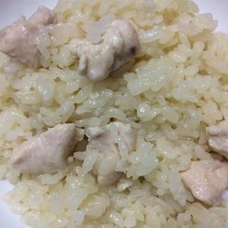 鶏肉の鶏皮出汁炊き込みごはん
