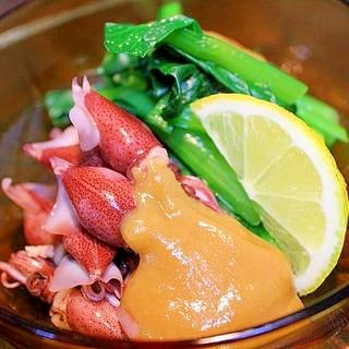 ほたるいかの酢味噌*小松菜ぞえ