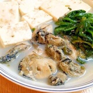 ♪ほぼ素材だけ♡豆腐とほうれん草の牡蠣スープ煮♪