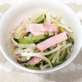 大根ときゅうりとハムの中華風ごまサラダ