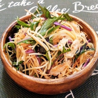 ♪紫水菜で♡サラスパとサラダチキンの彩りサラダ♪