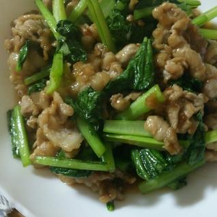 小松菜と豚こまの照り焼き炒め