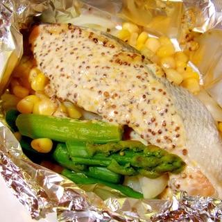 鮭のホイル焼き☆マスタードマヨソース