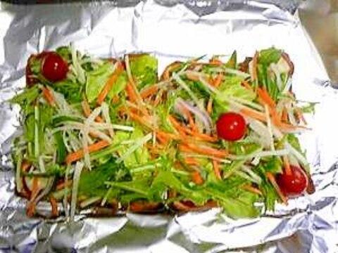 野菜たっぷり☆フレッシュ生野菜のピザトースト