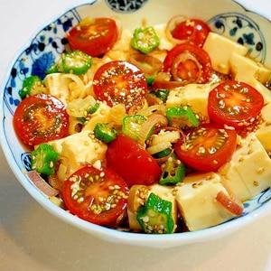 夏野菜でサッパリ!トマトとオクラと豆腐の中華サラダ