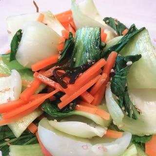 【副菜】チンゲン菜の塩昆布和え【レンジ調理】