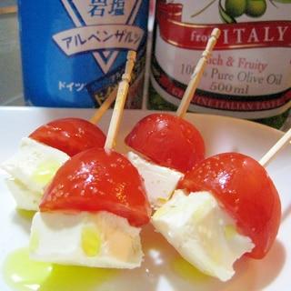 簡単旨い☆クリームチーズとプチトマトのピンチョス☆