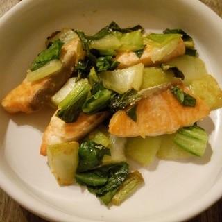 離乳食 幼児食 鮭とチンゲン菜の味噌炒め