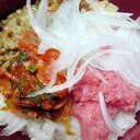新玉ねぎ添えネギトロ納豆キムチ丼