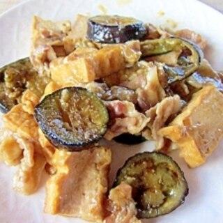 厚揚げ、茄子、豚肉ばら肉のピリ辛炒め