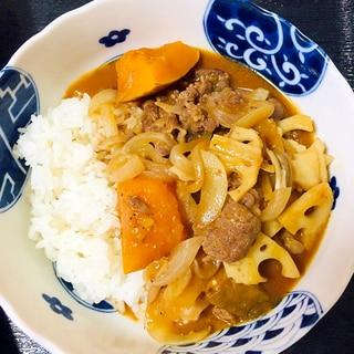 レンコンとかぼちゃと舞茸のハヤシライス