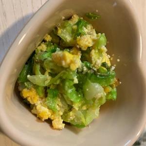 春キャベツと卵の明太子炒め