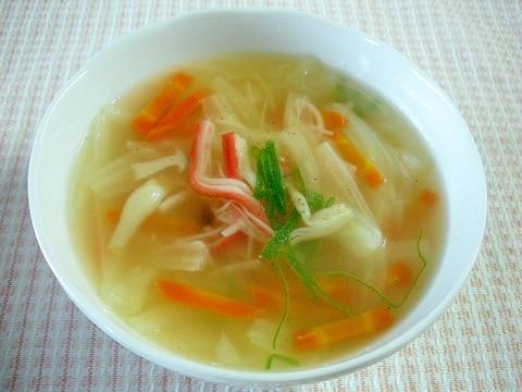 【お手伝いレシピ】☆キャベツとカニカマのスープ☆