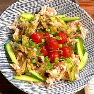 香味野菜たっぷりトマトのマリネかけ豚しゃぶサラダ
