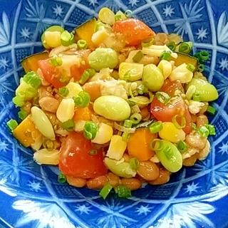 納豆の食べ方-蒸し鶏&夏野菜♪