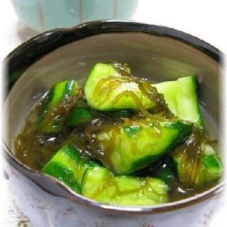 きゅうりともずく酢の酢の物!柚子胡椒和え☆