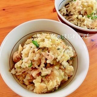 鷄と高菜の中華風炊き込みご飯✿
