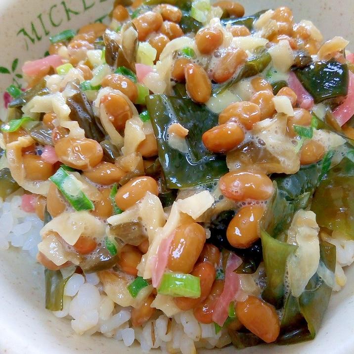 納豆の食べ方-生姜わかめ♪