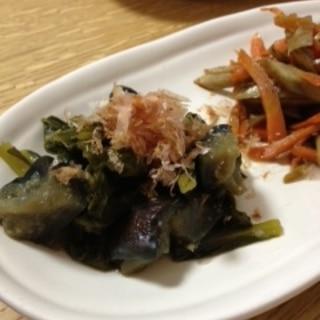 レンジで作る✿ナスと小松菜の煮びたし