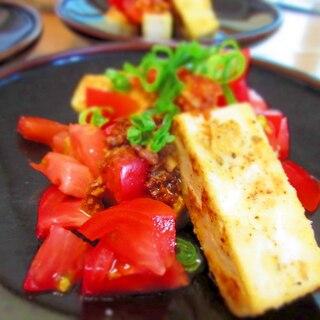 豆腐ステーキのアンチョビにんにくソース